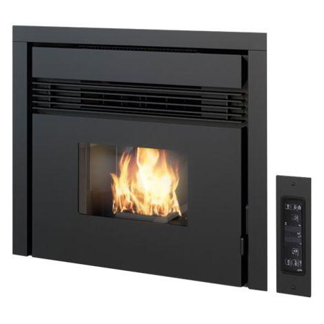 Insert de cheminée à pellets 7,5 kW Punto Fuoco Prezzemolo Point texture noire - -