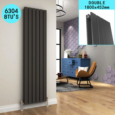 1800 x 452mm Anthracite Vertical Radiator Designer Double Oval Column Radiators Bathroom Flat Panel