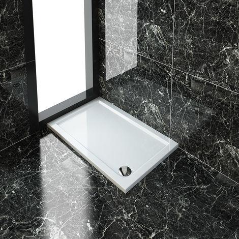 ELEGANT Rectangular 1200 x 700 x 40 mm Stone Tray for Shower Enclosure Cubicle + Waste Trap