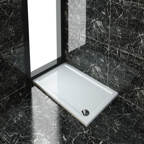 ELEGANT Rectangular 1200 x 800 x 40 mm Stone Tray for Shower Enclosure Cubicle + Waste Trap
