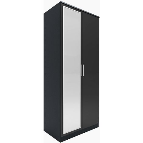ELEGANT Modern High Gloss Soft Close 2 Doors Wardrobe with Mirror and Metal Handles Includes a removable hanging rod and storage shelves, Black