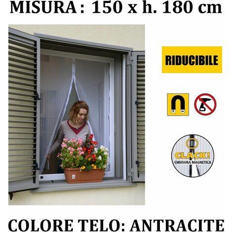 Tenda zanzariera magnetica antracite con calamite 150 x 180 cm per finestra