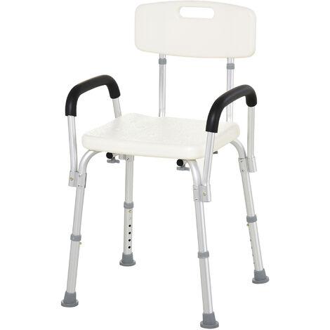 Chaise de douche siège de douche ergonomique hauteur réglable pieds antidérapants dossier accoudoirs amovibles charge max. 136 Kg alu HDPE blanc - Blanc