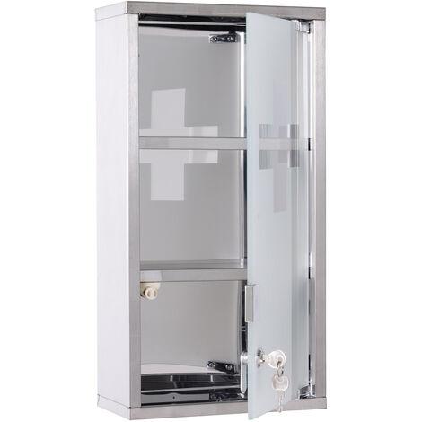 Armoire à pharmacie 2 étagères 3 niveaux verrouillable porte verre trempé dépoli logo croix 25L x 12l x 48H cm acier inox - Gris