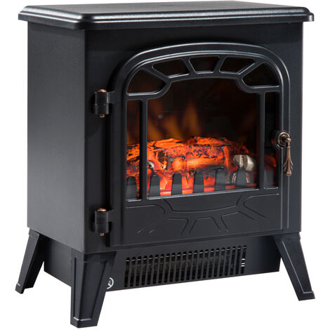 Cheminée électrique radiateur imitation flamme avec luminosité et réglable 900 W / 1800 W porte métal verre trempé noir - Noir