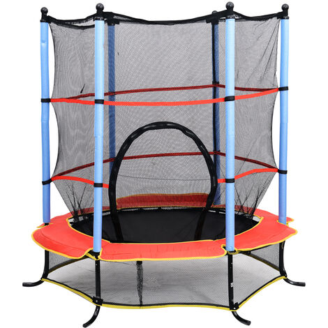 Trampoline de jardin enfants Ø 1,65 × 1,62H m filet de sécurité porte zipée couvre-ressorts + 6 poteaux rembourrés inclus noir rouge bleu - Noir