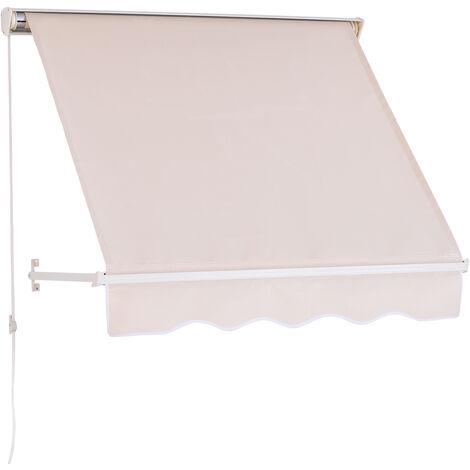 Store banne manuel inclinaison réglable aluminium polyester imperméabilisé 70L x 120l cm beige