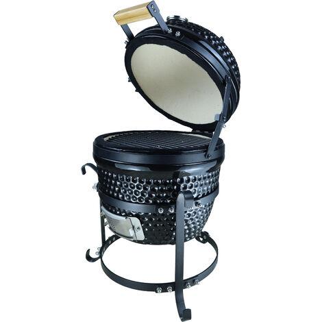 Barbecue à charbon BBQ grill fumoir sur pieds design contemporain olive acier céramique martelé noir - Noir