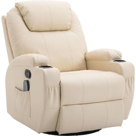 Fauteuil de relaxation massant chauffant et vibrant inclinable pivotant à 360° revêtement synthétique 84L x 94l x 109Hcm beige - Beige