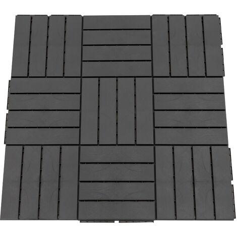 Caillebotis - dalles terrasse - lot de 9 - emboîtables, installation très simple - petits carreaux composite plastique imitation bois noir - Noir