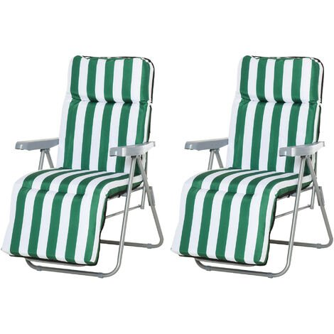 Lot de 2 chaise longue bain de soleil adjustable pliable transat lit de jardin en acier vert + blanc - Vert