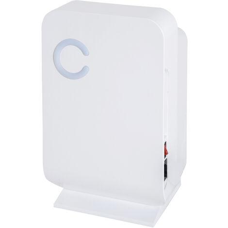 Déshumidificateur portable électrique 1,3 L silencieux évacuation continue 400 mL/24 H idéal pièces 20 m² blanc - Blanc