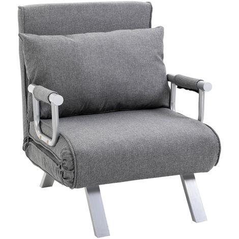 Fauteuil chauffeuse canapé-lit convertible 1 place déhoussable grand confort coussin pieds accoudoirs métal lin gris clair - Gris clair