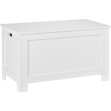 Coffre malle de rangement 81L x 40l x 46H cm MDF blanc - Blanc
