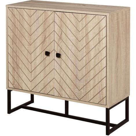 Buffet meuble de rangement 2 portes bois et pieds en métal noir dim. 80L x 29,5l x 80H cm - Bois naturel