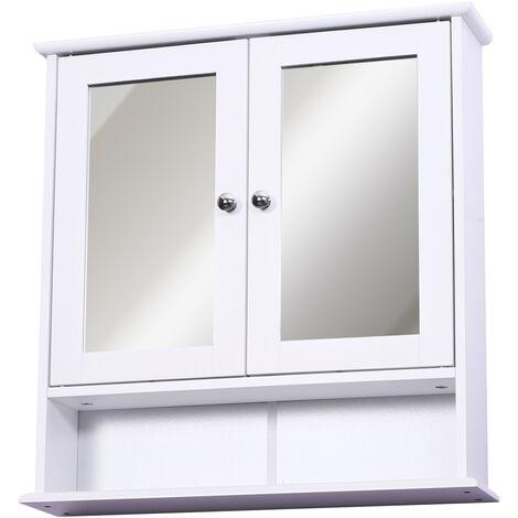 Armoire murale étagère salle de bain 56L x 13l x 58H cm double porte miroir étagère réglable MDF blanc - Blanc