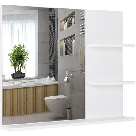 Miroir de salle de bain avec étagères - 2 étagères latérales + grande étagère inférieure - kit installation fourni - MDF blanc - Blanc