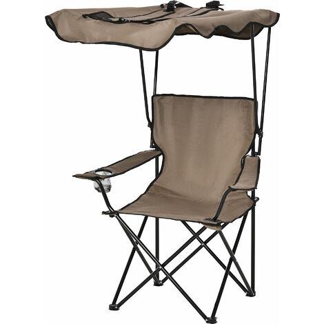 Chaise de camping pliable pare-soleil + porte-gobelets intégrés