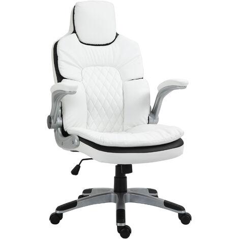 Fauteuil de bureau manager gaming style baquet racing dossier assise capitonné revêtement synthétique blanc noir - Blanc