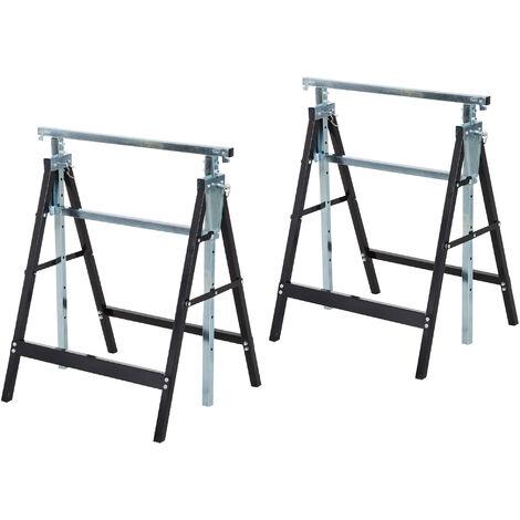 Lot de 2 tréteaux pliables télescopiques hauteur réglable 80-130 cm noir - Noir