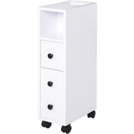 Meuble bas colonne rangement salle de bain à roulettes blanc dim. 18L x 30l x 68,5H cm - Blanc