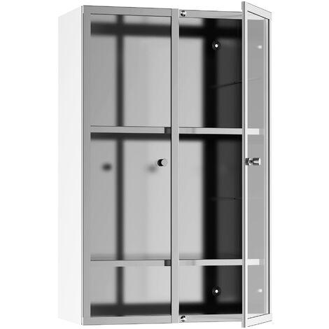 Armoire miroir rangement salle de bain meuble mural acier inox. Argent dim. 38L x 20l x H60 cm - Argent