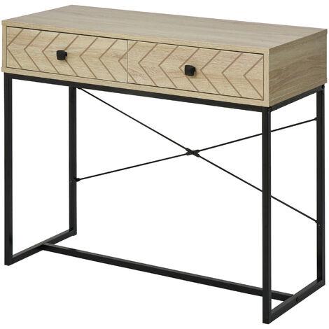 Table console industriel 2 tiroirs bois naturel pieds métal dim. 90 x 35 x 76 cm - Bois naturel