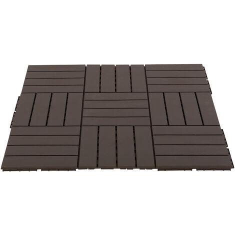 Caillebotis - dalles terrasse - lot de 9 - emboîtables, installation très simple - petits carreaux composite plastique imitation bois chocolat - Marron