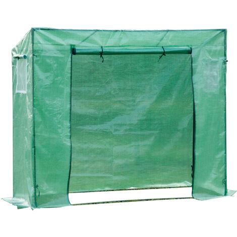 Serre de jardin anti-UV 2 fenêtres moustiquaires + 2 barres renforcement 198L x 77l x 168H cm acier PE vert - Vert