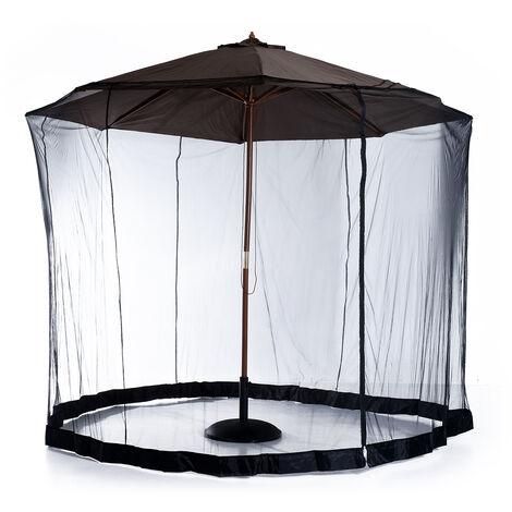 Moustiquaire cylindrique pour parasol 3 m diamètre avec fermeture éclair et lestage noir - Noir