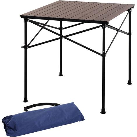 Table de pique-nique, table de camping pliante légère 4 pers. en aluminium - Marron