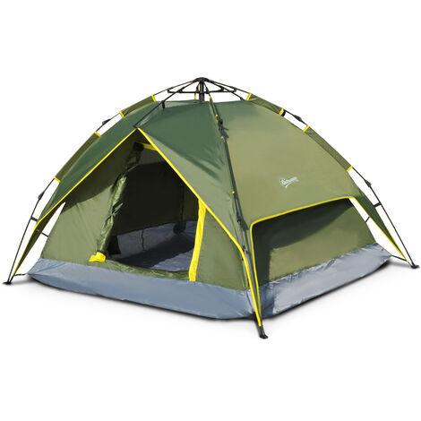 Tente de camping 2 personnes double toit imperméable 2,3 x 2 x 1,35 m vert kaki montage démontage facile + sac de transport fourni - Vert