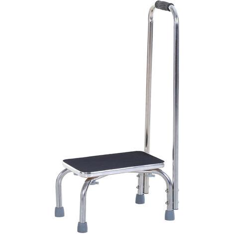 Marche avec barre d'appui - marchepied de sécurité - marche d'accès au bain - plateforme & patins antidérapants - acier galvanisé - Gris