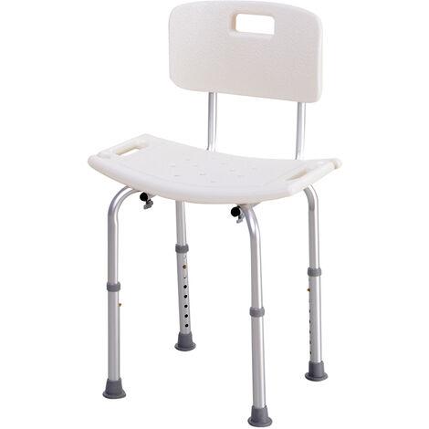 Chaise de douche siège de douche ergonomique hauteur réglable pieds antidérapants charge max. 136 Kg alu HDPE blanc - Blanc