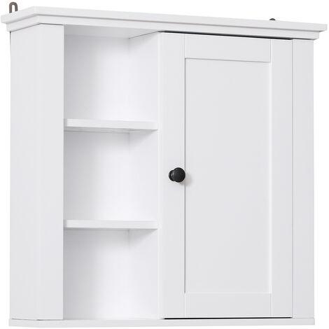 Armoire haute murale de salle de bain ou WC placard 1 porte 3 niches dim. 53L x 15l x 51H cm MDF panneaux particules blanc - Blanc
