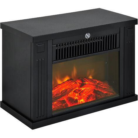 Cheminée électrique poêle style contemporain thermostat 600-1200 W noir - Noir