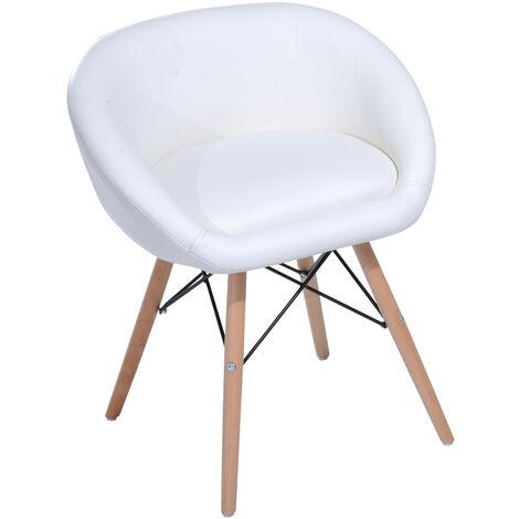 Chaise design scandinave - chaise de salon ou cuisine - pieds effilés bois massif - revêtement synthétique PU blanc - blanc