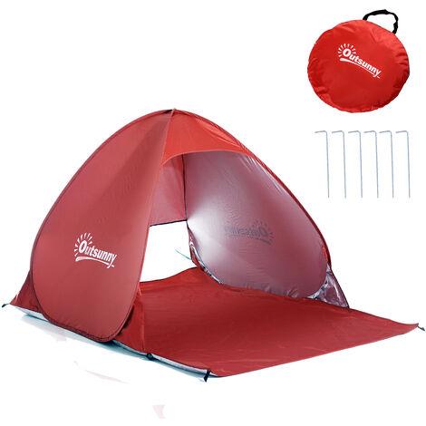 Abri de plage tente de plage pliable pop-up automatique instantané protection UV fenêtre arrière grand tapis de sol bleu ciel - Bleu