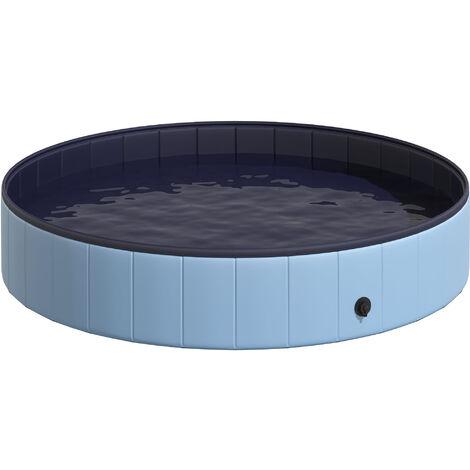 Piscine pour chien bassin PVC pliable anti-glissant facile à nettoyer diamètre 160 cm hauteur 30 cm bleu - Bleu