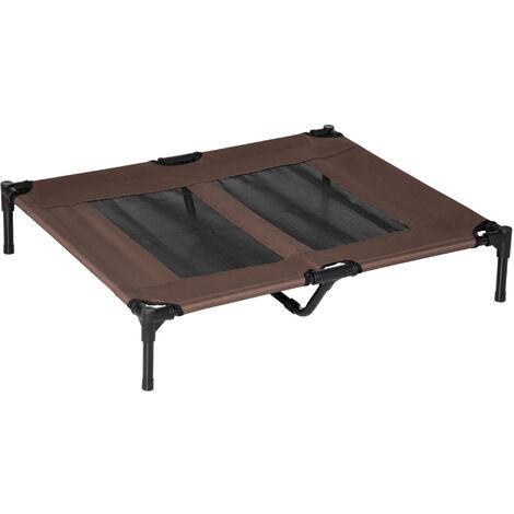 Lit sur pieds lit de camp pour chien chat animal 92 x 76 x 18 cm marron - Marron