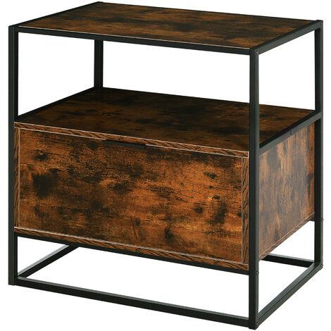 Console meuble de rangement style industriel vintage grand tiroir, étagère et plateau aspect vieux bois veinage métal noir - Marron