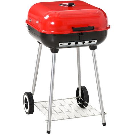 Barbecue à charbon BBQ grill sur pied avec couvercle et roulettes dim. 47L x 45l x 70H cm acier émaillé rouge - Rouge