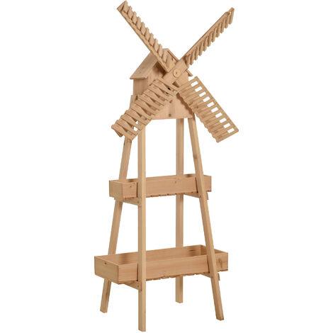 Moulin à vent décoratif - porte plante moulin - étagère de pots de fleurs - jardinière dim. 80L x 44l x 154H cm - bois de sapin - Beige
