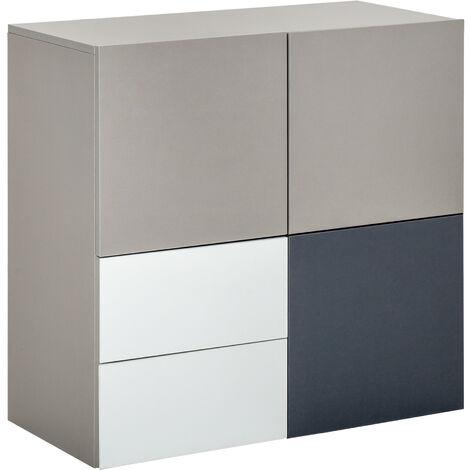 Buffet 2 tiroirs coulissants 3 portes panneaux particules tricolore gris clair, foncé et blanc - Gris