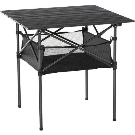 Table pliante table de camping table de jardin filet rangement + sac transport plateau alu. châssis métal époxy noir - Noir