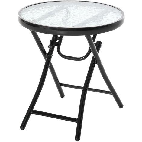Table basse ronde bistro de jardin Ø 45 x 50H cm pliable métal époxy noir plateau verre trempé - Noir