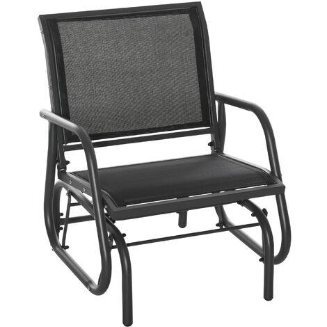 Fauteuil à bascule de jardin rocking chair design contemporain acier textilène noir - Noir