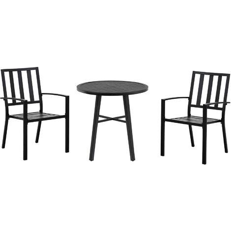 Salon de jardin 2 places 3 pièces 2 chaises et table style contemporain acier époxy noir - Noir