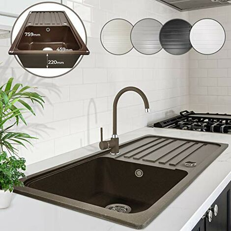 Lavello da Cucina Lavello 1 vasca Lavello in Granito con Scolapiatti 75,9 x 45,9
