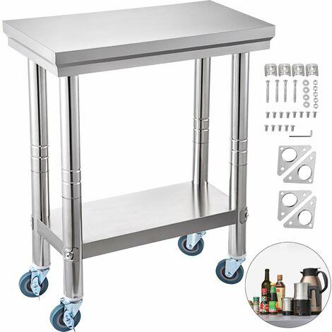Piano Di Lavoro Banco Da Lavoro Tavolo Con Ruote In Acciaio Inox 30x60 cm